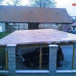 Garážové stání z falcované krytiny z Cu plechu - Vyškov
